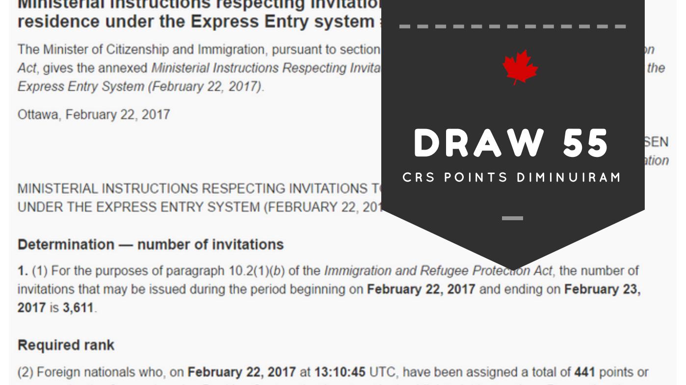 draw 55 crs points diminuiram recorde de baixa dos pontos para imigração pelo Express entry