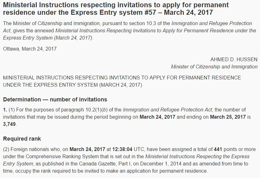 texto oficial do CIC para o draw 57 - MARÇO 2017