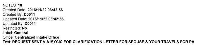 Documentos adicionais pedidos pelo MY CIC