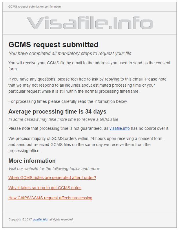 GCMS Notes visa file confirmação 34 dias em média para obter resposta