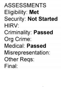 Avaliações GCMS eligibilidade atingida segurança não iniciada criminalidade atingida exames médicos atingidos