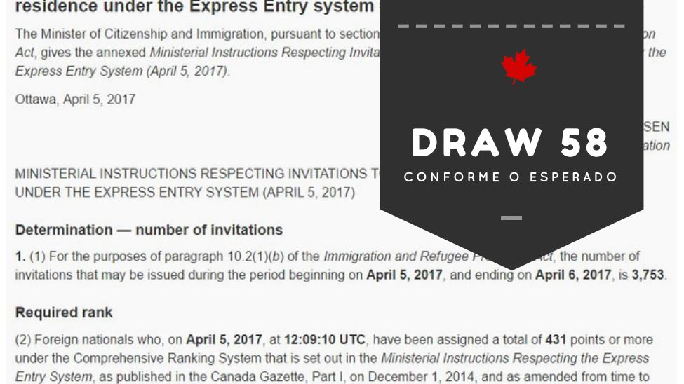 Express Entry draw 58 5 de abril