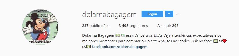 dolar na bagagem instagram