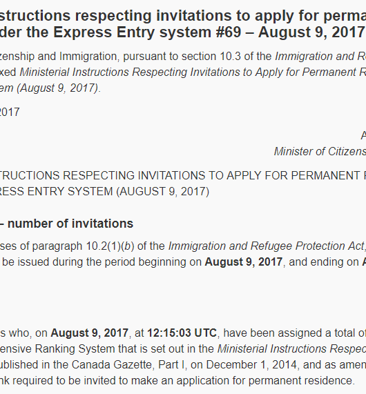 draw 69 Express Entry Canadá