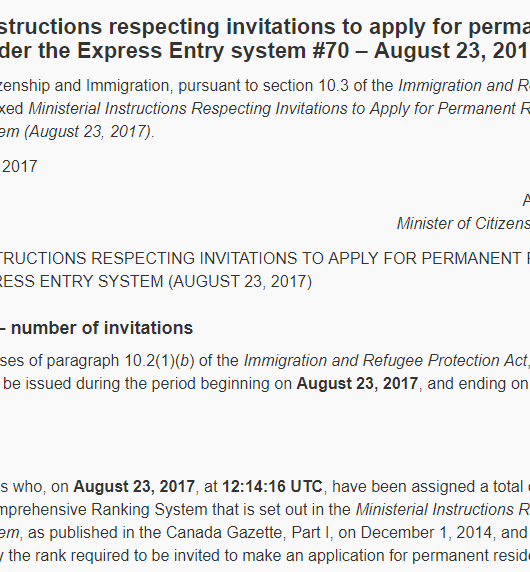 draw 70 Express Entry Canada