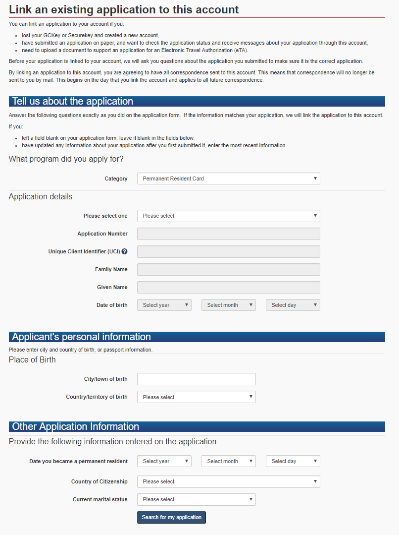 form to link application