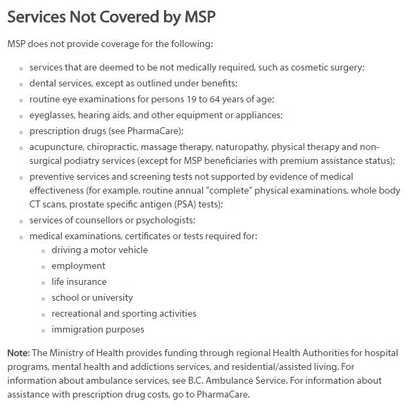 Serviços não cobertos MSP BC