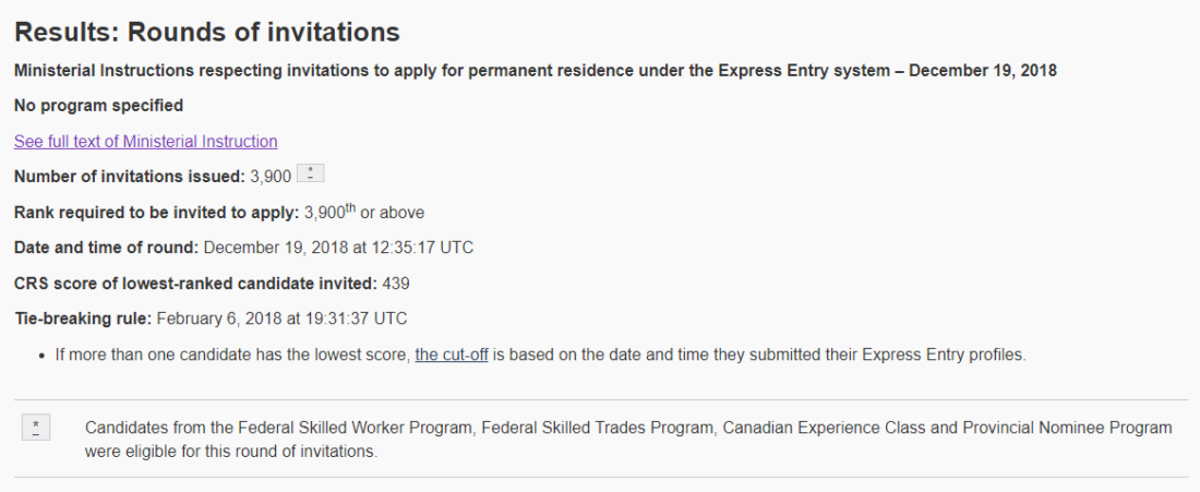 draw107 canada Express Entry
