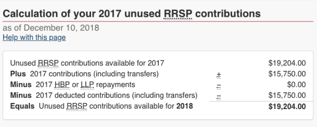 room of contribution RRSP